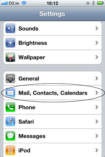 Adding an email to iphone step 2