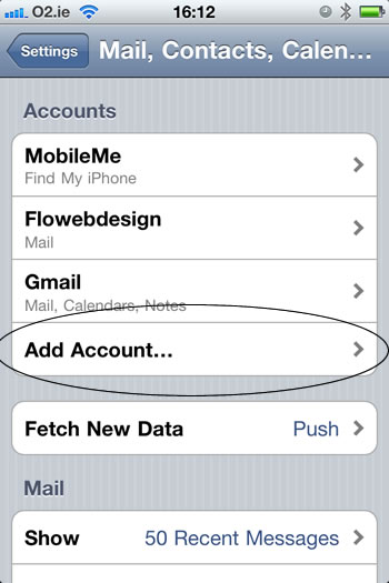 Iphone add email step 3