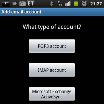 POP3 selection on a samsung smart phone