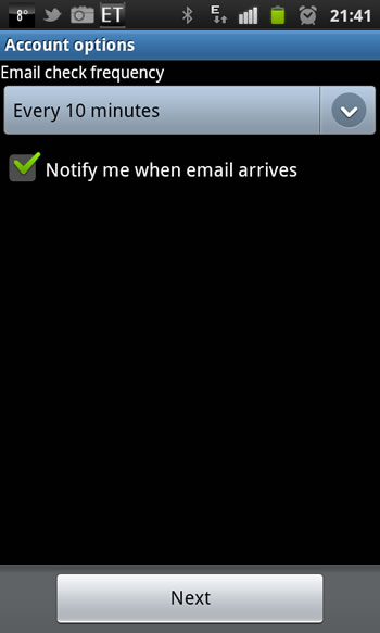 how to add email to android