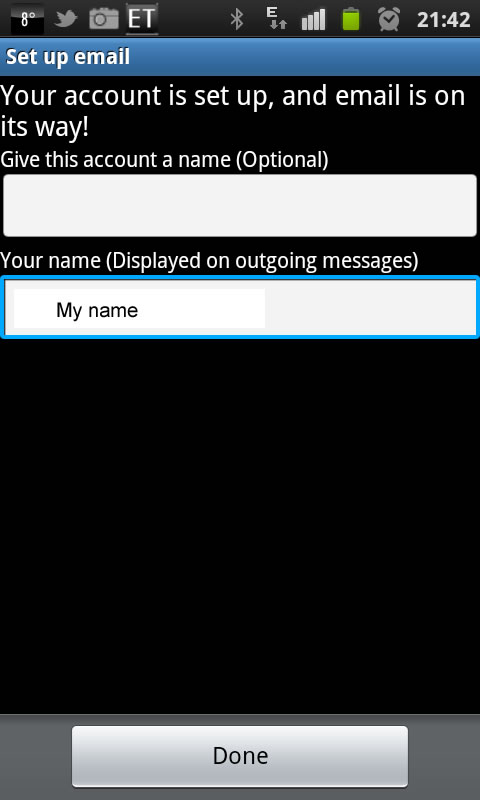 Finalise adding an email to your smart phone