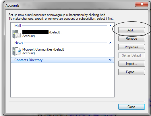 Step 2 of account an email to Windows Live mail