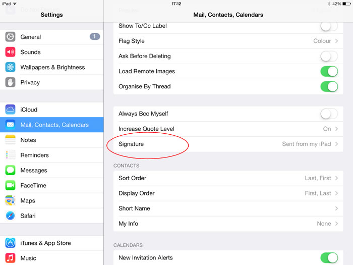 Setting up an email signature on  IOS